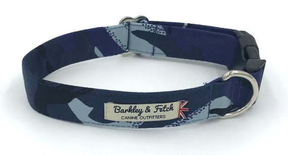 Blue Camo Print Dog Collar - Barkley & Fetch - My Pet Gift Box