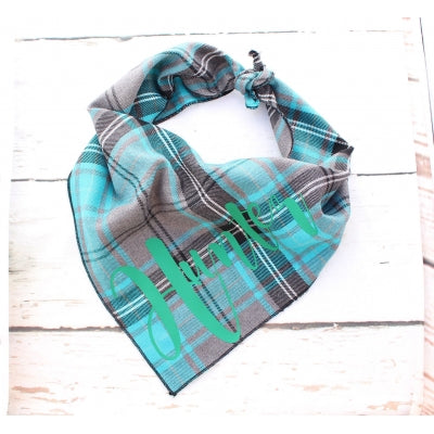 Blue Tartan Personalised Dog Bandana - Pet Pooch Boutique - My Pet Gift Box
