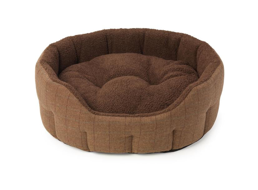 Brown Tweed Sheepskin Oval Dog Bed - House Of Paws - My Pet Gift Box