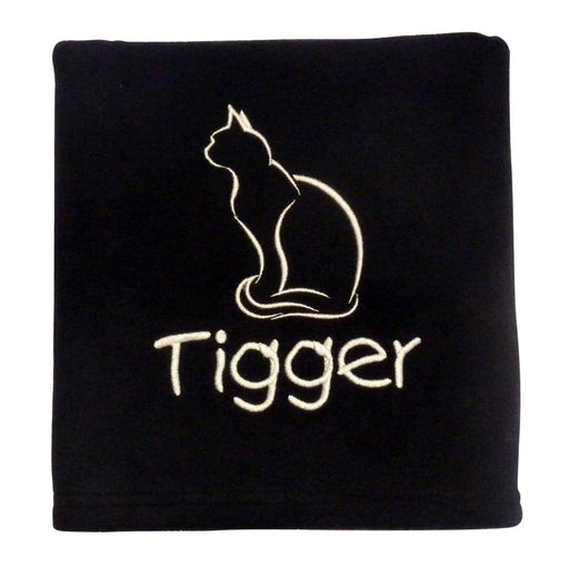 Personalised Small Cat Blanket - Black