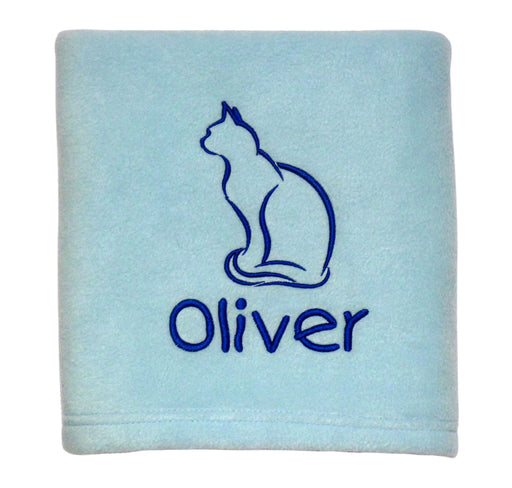 Personalised Cat Blanket - Blue - My Posh Paws - My Pet Gift Box