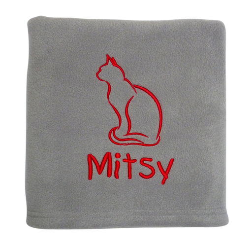 Personalised Cat Blanket - Pale Grey - My Posh Paws - My Pet Gift Box