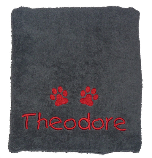 Personalised Dog Towel - Charcoal Grey - My Posh Paws - My Pet Gift Box