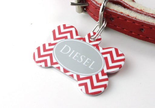 Personalised Chevron Print Bone Pet Id Tag