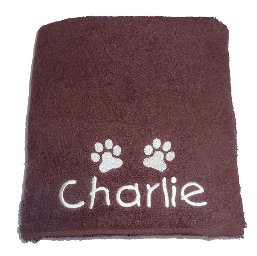 Personalised Dog Towel - Chocolate