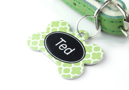 Personalised Clover Print Bone Pet Id Tag