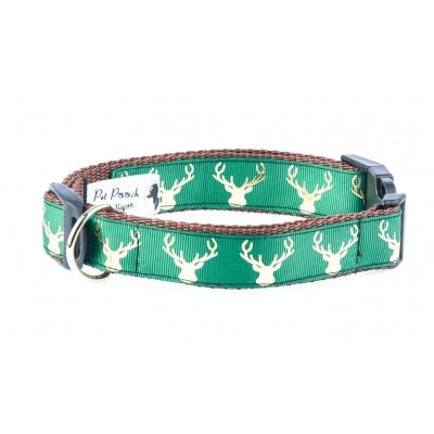 Handmade Country Stag On Lush Green Dog Collar