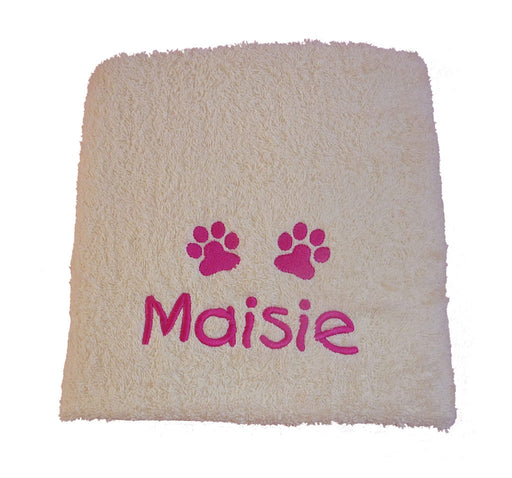 Personalised Dog Towel - Cream