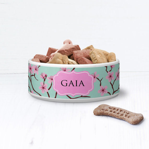 Floral Oriental Blossom Personalised Pet Bowl