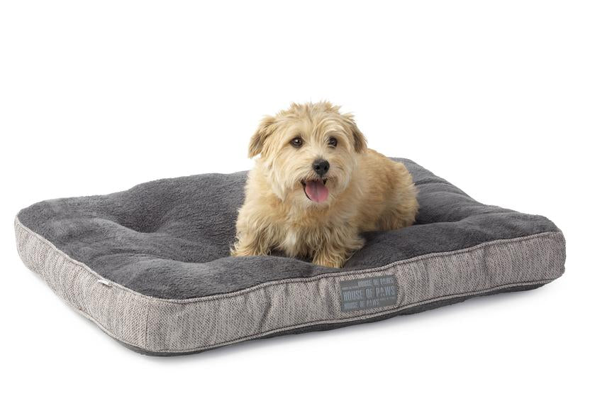 Grey Hessian Boxed Duvet Dog Bed - House Of Paws - My Pet Gift Box