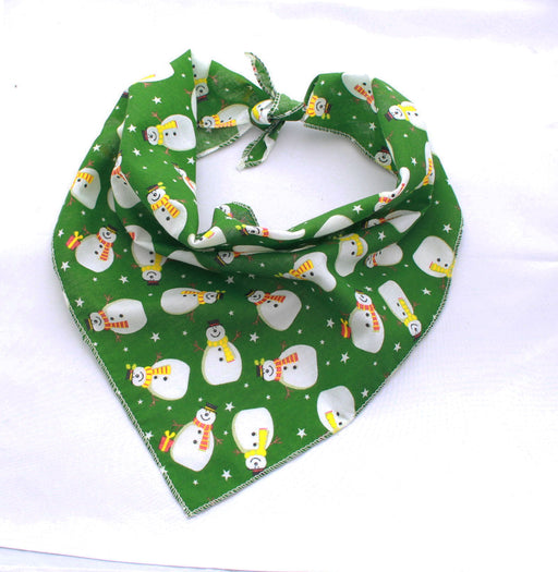 Green Snowman Christmas Dog Bandana - Pet Pooch Boutique - My Pet Gift Box
