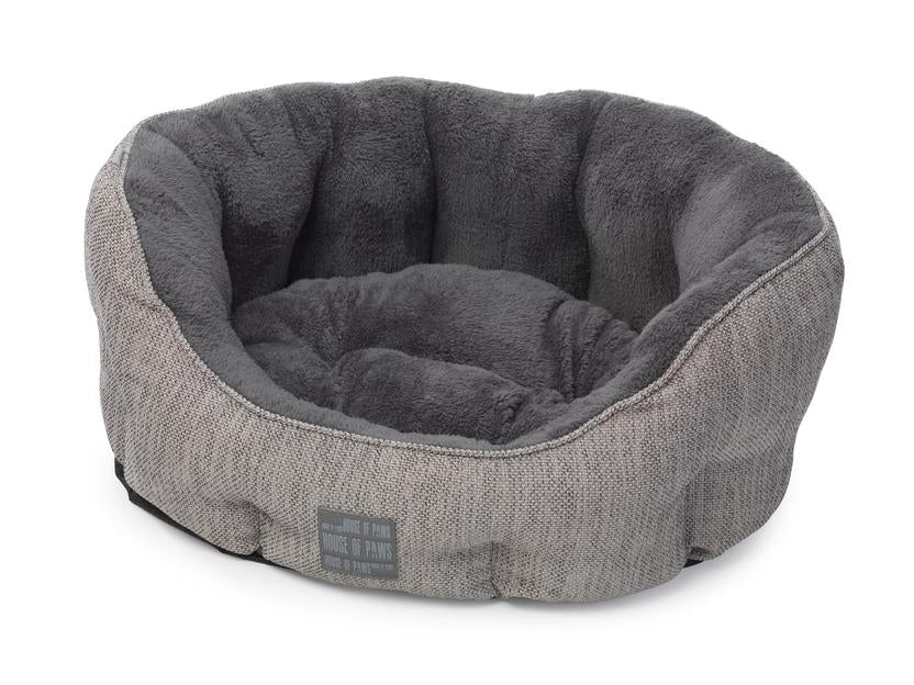 Grey Hessian Oval Dog Bed - House Of Paws - My Pet Gift Box