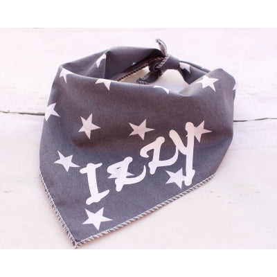 Grey Star Personalised Dog Bandana