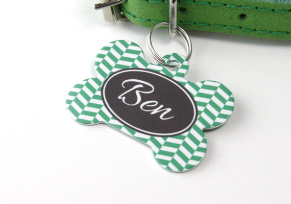 Personalised Herringbone Print Bone Pet Id Tag - We Love To Create - My Pet Gift Box
