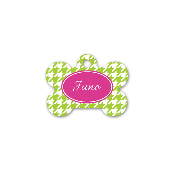 Personalised Houndstooth Print Bone Pet Id Tag - We Love To Create - My Pet Gift Box