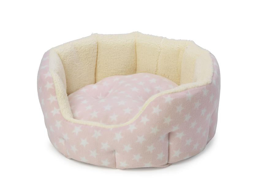 House Of Paws Fleece Star Oval Snuggle Puppy Bed Pink