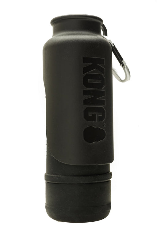 KONG H20 25oz Insulated Stainless Steel Black Dog Water Bottle & Travel Bowl
