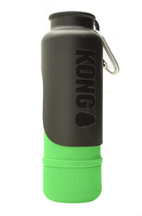KONG H20 25oz Insulated Stainless Steel Green Dog Water Bottle & Travel Bowl
