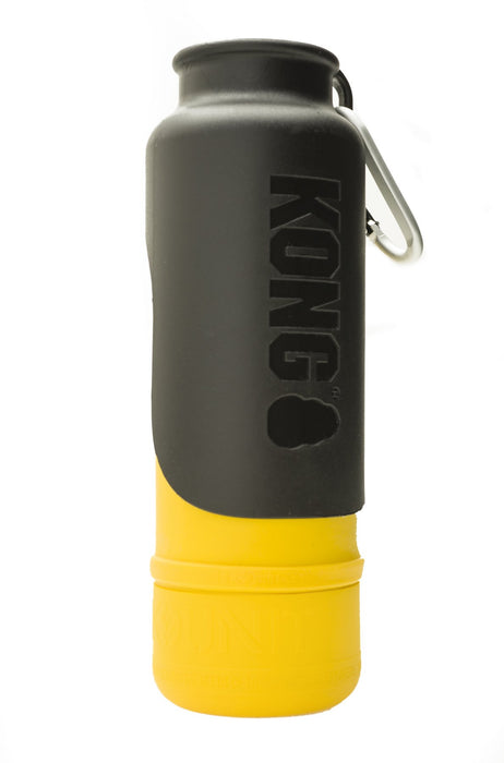 KONG H20 25oz Insulated Stainless Steel Yellow Dog Water Bottle & Travel Bowl