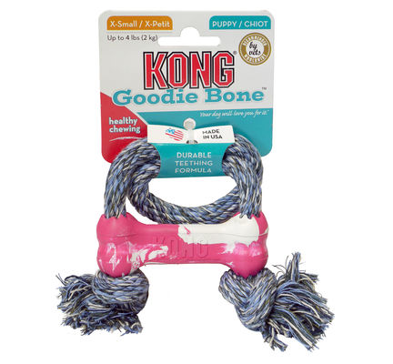 Kong Puppy Goodie Bone With Rope X Small Dog Toy
