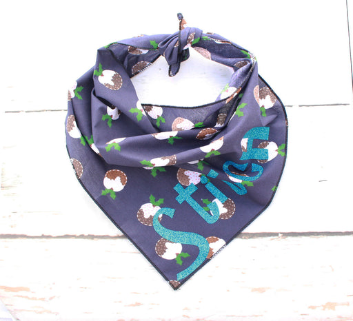 Navy Christmas Pudding Personalised Dog Bandana