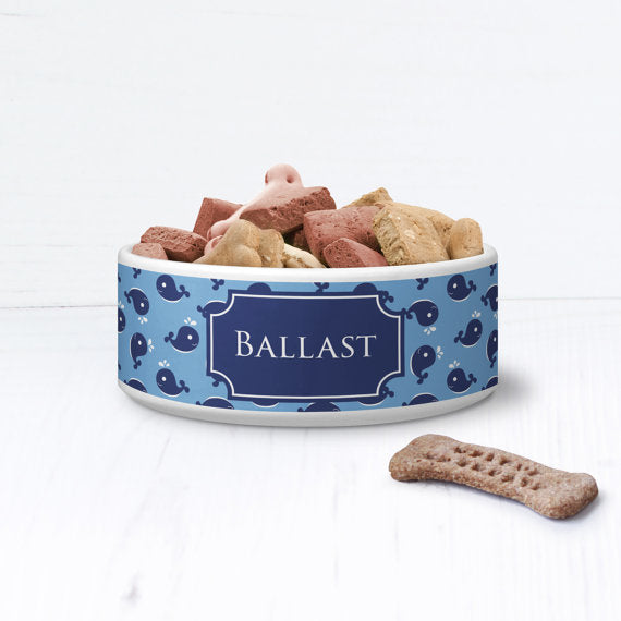 Nautical Whale Sea Personalised Pet Bowl - We Love To Create - My Pet Gift Box