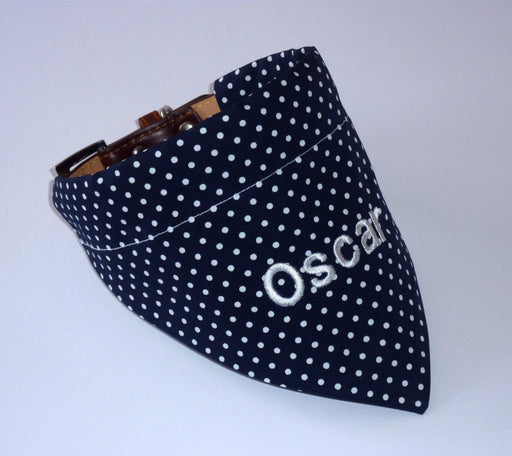 Navy & White Polka Dot Dog Bandana