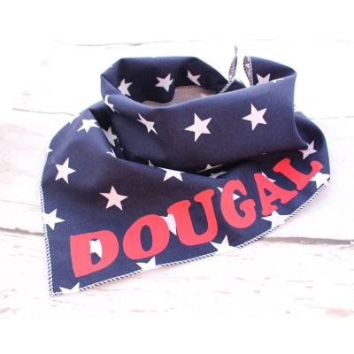 Navy Blue Stars Personalised Dog Bandana