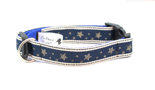 Navy Winter Wonderland Christmas Dog Collar