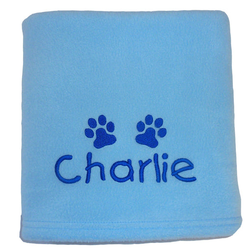 Personalised Small Dog Blanket - Pale Blue - My Posh Paws - My Pet Gift Box