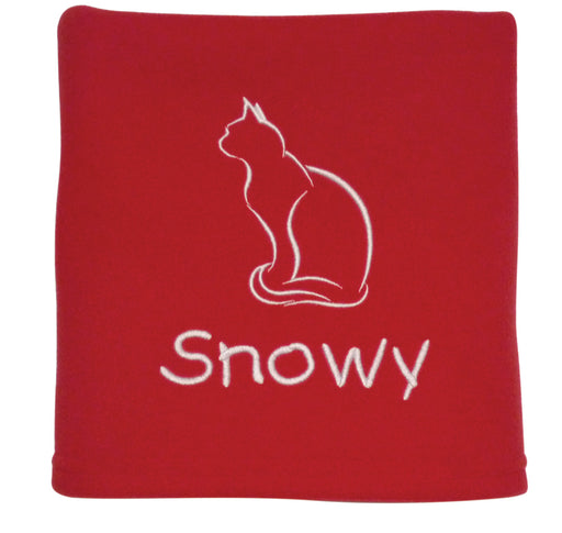 Personalised Cat Blanket - Red - My Posh Paws - My Pet Gift Box