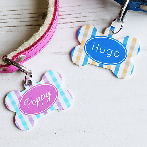 Personalised Gingham Pet Tag Bone Shaped  Pet Id Tag