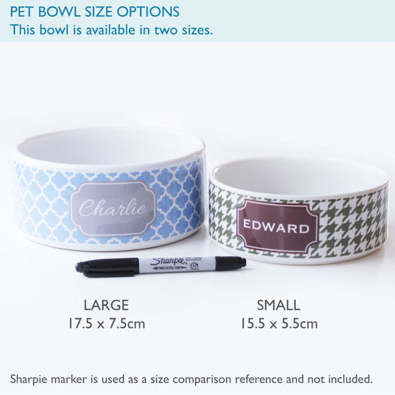 Personalised Grecian Key Print Pet Bowl