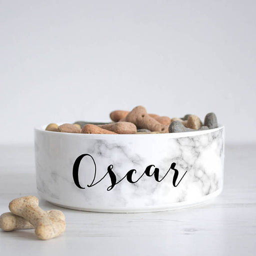 Personalised Marble Print Pet Bowl