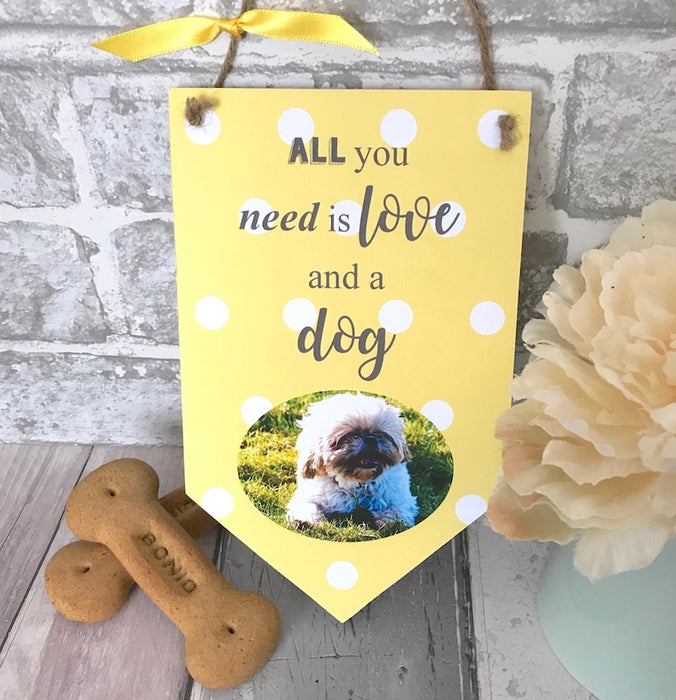 Personalised 'All You Need Is Love' Pet Photo Banner Plaque - Harts Craft - My Pet Gift Box