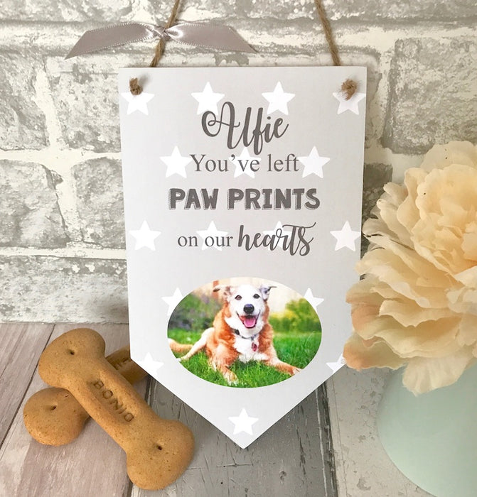 Personalised 'You've Left Paw Prints' Pet Photo Banner Plaque - Harts Craft - My Pet Gift Box