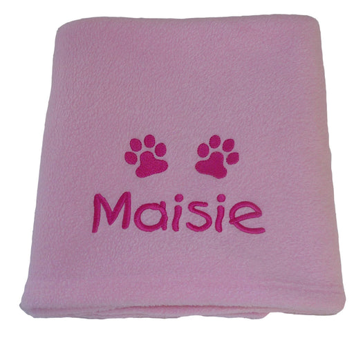 Personalised Small Dog Blanket - Pale Pink
