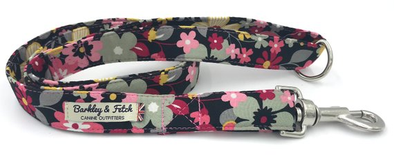 Pink/Black Flower print Dog Lead - Barkley & Fetch - My Pet Gift Box