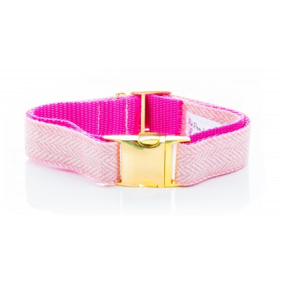 Handmade Pink Herringbone Tweed Dog Collar on Gold - Pet Pooch Boutique - My Pet Gift Box