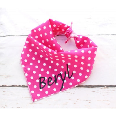 Pink Polka Dot Personalised Dog Bandana