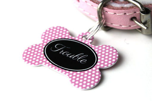 Personalised Polkadot Print Bone Pet Id Tag