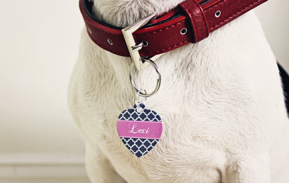 Personalised Quatrefoil Print Heart Pet Id Tag