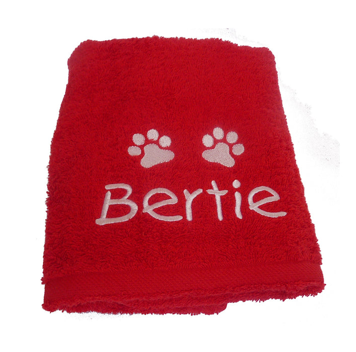 Personalised Dog Towel - Red