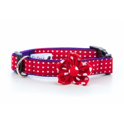 Red Polka Dot Flower Dog Collar - Pet Pooch Boutique - My Pet Gift Box