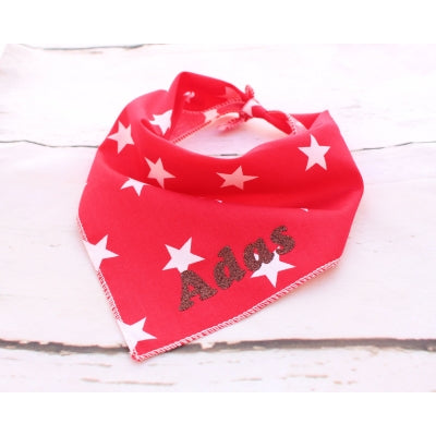 Red Stars Personalised Dog Bandana - Pet Pooch Boutique - My Pet Gift Box