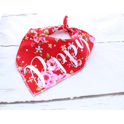 Red Vintage Personalised Dog Bandana