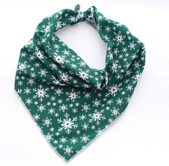 Green Snowflake Christmas Dog Bandana
