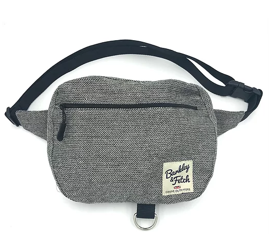Grey Herringbone Dog Walk and Treat Bum Bag - Barkley & Fetch - My Pet Gift Box