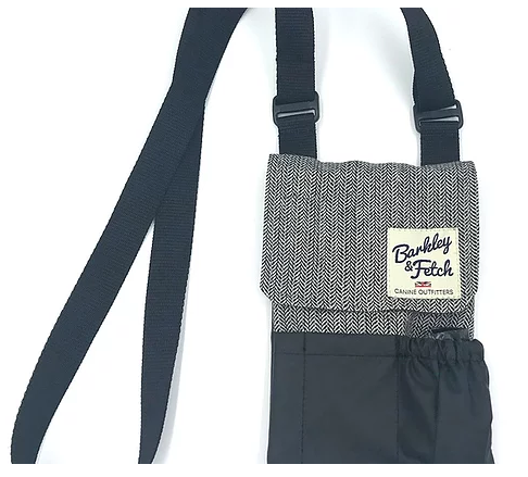 Grey Herringbone Dog Walking Bag - Barkley & Fetch - My Pet Gift Box