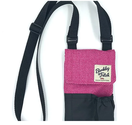 Pink Herringbone Dog Walk and Treat Bag - Barkley & Fetch - My Pet Gift Box